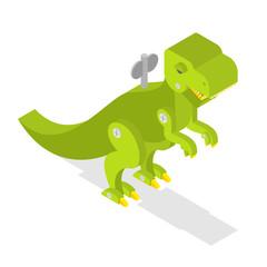 Toy dinosaur. Tyrannosaurus Rex isometrics. Prehistoric lizard.