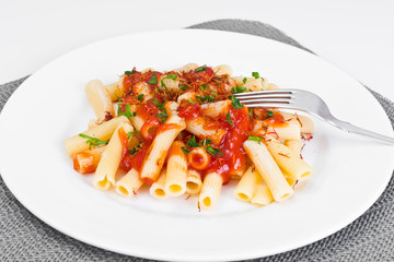 Pasta with Tomato Sauce Ketchup and Saffron