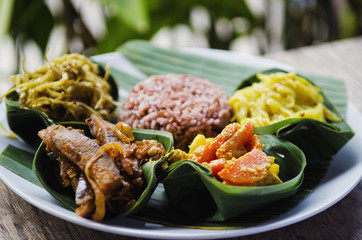vegetarian curry and brown rice meal in bali indonesia