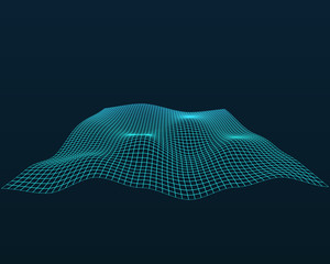 Abstract vector landscape background. Cyberspace grid. 3d technology vector illustration. Geometric background