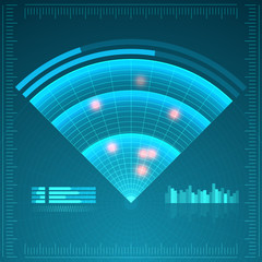 Blue radar screen. Vector illustration for your design. Technology background. Futuristic user interface. HUD.