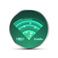 Green radar screen. Vector illustration for your design. Technology background. Futuristic user interface. HUD.
