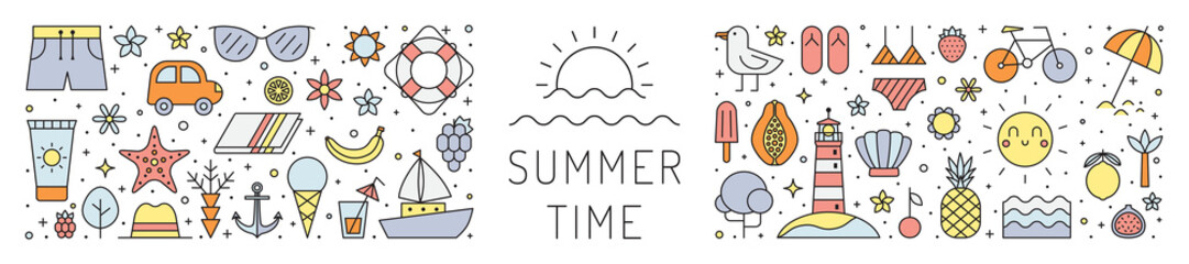 Summer beach multicolored horizontal illustration. Summer time. Clean and simple outline design.