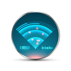 Blue radar screen. Vector illustration for your design. Technology background. Futuristic user interface. HUD.
