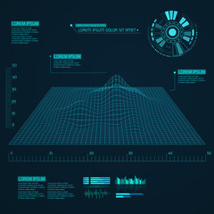 Abstract vector landscape background. Cyberspace grid. Geometric background with sci fi futuristic user interface.