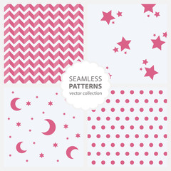 Children's pattern with moon and stars