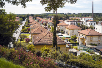 Worker village of Crespi d'Adda. Color image