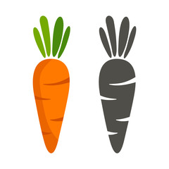 silhouette of carrots and black color on a white background