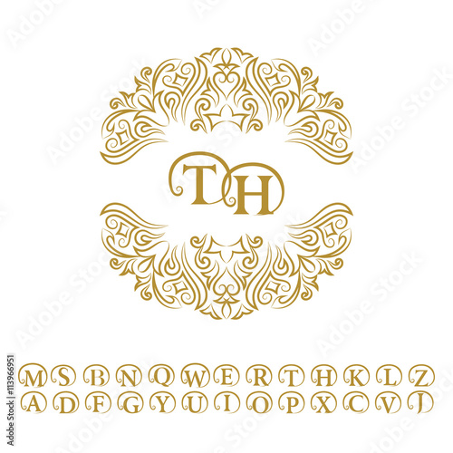 Vintage monogram Abstract logo alphabet Letter emblem T H Line