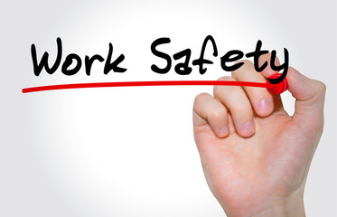 Hand writing Work Safety with marker, Business concept