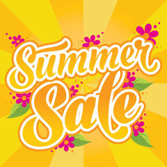 Summer sale vector banner with flowers. Can be used for for prints, websites, posters, emails, price tags and adverts.
