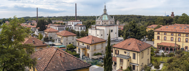 Worker village of Crespi d'Adda: panorama. Color image