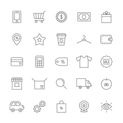 Shopping icon set. Clean and simple outline design.
