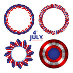 Set of vector frames to the Independence day of 4th july. Vector