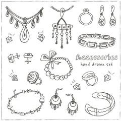 Accessories sketch icon set