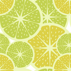 Yellow lemons and green limes pattern, vintage colors and style