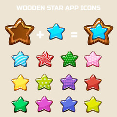 elements for making your own star icon, constructor in vector