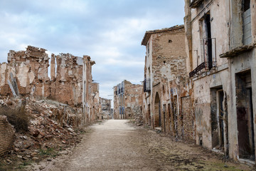Belchite village destroyed in a bombing during the Spanish Civil Wall mural