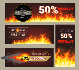 Sale banner set, shopping label, adertisement for web