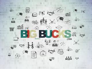 Finance concept: Big bucks on Digital Data Paper background
