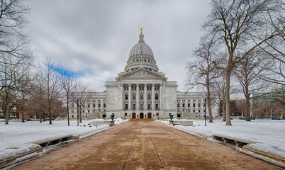 Exterior of the Wisconsin State Capitol building in the Winter