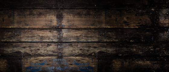 Old rustic wooden panoramic banner background