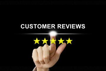 business hand pushing customer reviews on screen
