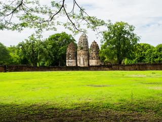 An ancient Khmer Style Prang at Wat Sri Sawai, an ancient temple in Sukhothai Historical Park, Thailand