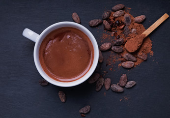 Autocollant pour porte Chocolat Hot chocolate in a cup on the black background