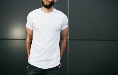 white blank t-shirt with space for your logo