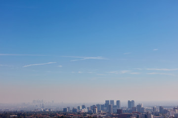 Blue sky over Los Angeles skyline