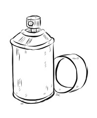 spray bottle / cartoon vector and illustration, black and white, hand drawn, sketch style, isolated on white background.