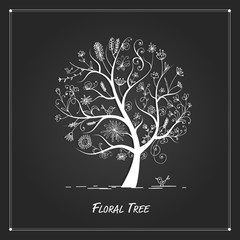 Art floral tree for your design on black background