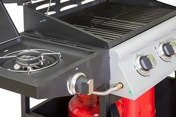 gas grill closeup on white background