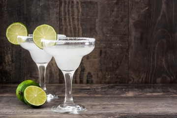 Margarita cocktail on a  rustic wood