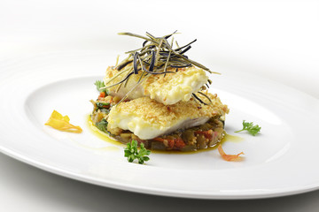 Fish dish, fillet of turbot in almond crust
