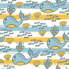 Summer seamless pattern on striped background