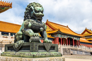 Bronze lion near the Hall of Supreme Harmony - Beijing Forbidden City