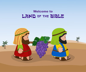 Two spies of israel carrying grapes