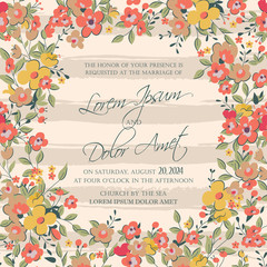 Wedding invitation or announcement card