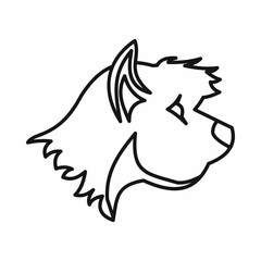 Terrier dog icon, outline style
