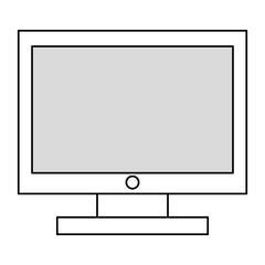 black line computer monitor , vector illustration