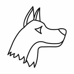 Doberman dog icon, outline style