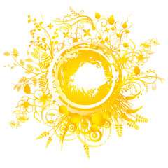 A circular geometric design for summer solstice day in June on a white background