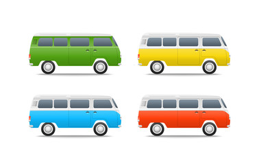 Different color cars vector illustration. Retro bus set
