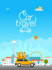 Vacation travelling concept. Vector travel illustration with the
