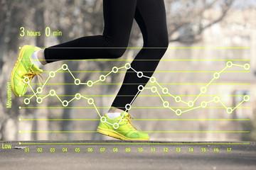 Running schedule concept. Runner feet on road, outdoors