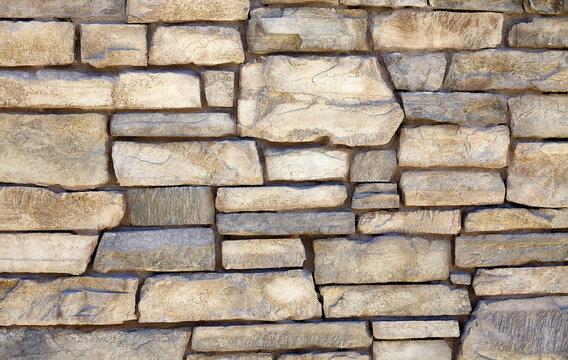 Decorative natural limestone ledge mortar wall