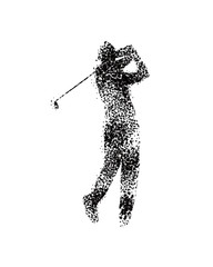 golfer hitting long shot silhouette