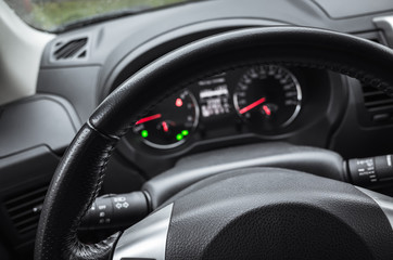 Modern car interior, steering wheel